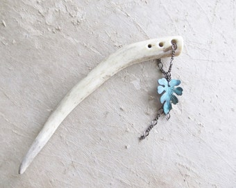 Brass Hair Pin Leaf Hair Stick Deer Antler - IVY -  Verdigris Brass