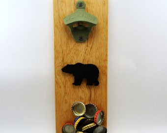 wall mount cast iron bottle opener beer magnet cap catcher bear silhouette cedar
