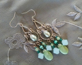 Silver teardrop chandelier earrings with jade, teal crystal, pale green pearl teardrops and pale blue glass