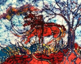 "Horse  -   ""The Gathering""    -  horse art -  original batik painting"