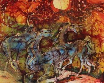 Horses on Fiery Night - Summer heat - Red White Blue -  Fireworks   - batik print from original