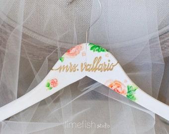 Custom Painted Bride Hanger - Bridal Shower Gift - Made To Order