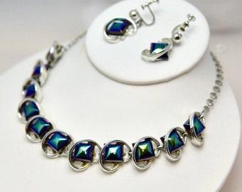 Carnival Art Glass Black, Blue, Green Mid Century Necklace & Earrings Demi Parure