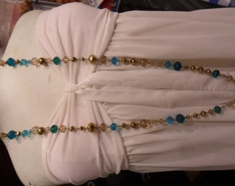 Authentic Vintage Blue And Gold Crystal Glass Long Necklace, STUNNING, PROM, WEDDING, Bride, Bridesmaid