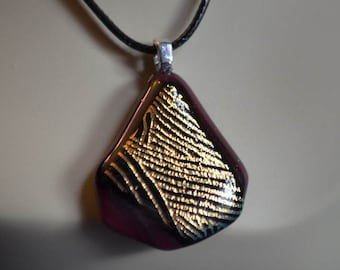 Dichroic Glass Necklace Black and Gold Swirls on Red Glass