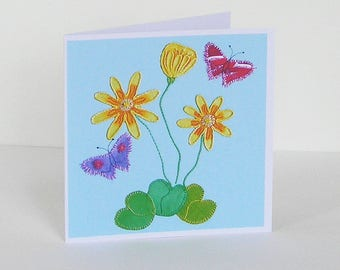 Yellow Flower and Butterfly Greetings Card, Recycled Card, Spring Flower Card