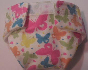 Ready to Ship SIZE #2 cloth Doll Diaper colorful butterflies adjusts fits bitty baby some baby alive all gone American Girl doll & more