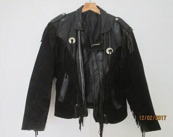Mens Leather Jacket / Jacket Vintage / Black Leather Jacket / with Suede / Fringed / Size M / Motorcycle Jacket / Biker Leather Jacket