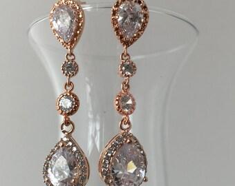 Rose gold CZ dangle bridal earrings- wedding earrings- brides jewelry- rose gold chandelier earrings