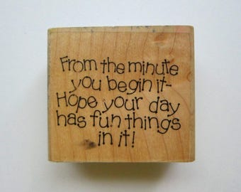 1pc FUN DAY Wood Rubber Stamp, Pre-used