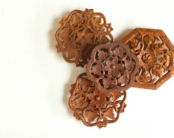 Collection of Vintage Wooden Flower Trivets