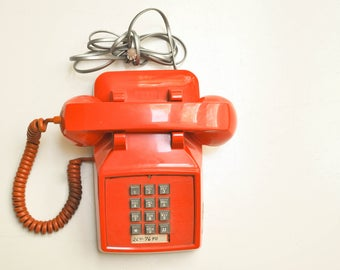 Vintage Push Button Orange Telephone