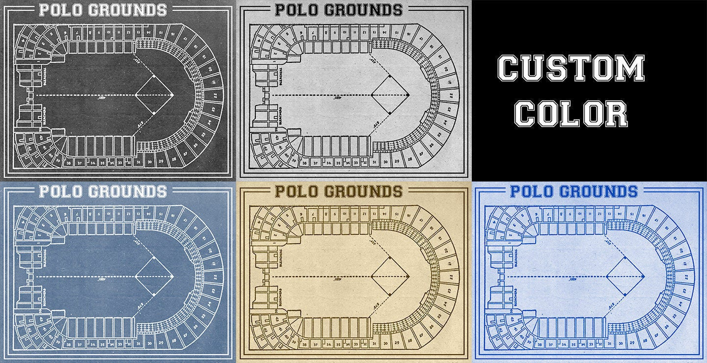 Vintage print of polo grounds seating chart new york giants vintage print of polo grounds seating chart new york giants baseball blueprint on photo paper matte paper or stretched canvas malvernweather Image collections