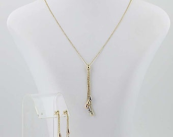 Teardrop Earrings and Necklace Set - 14k Yellow, White, & Rose Gold Pierced N5305