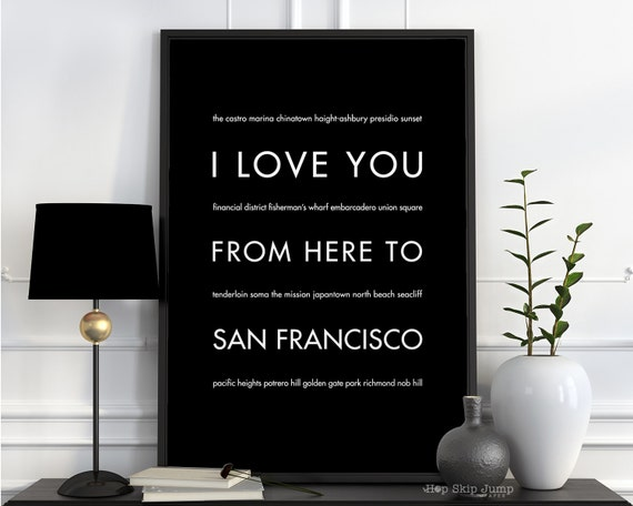 Holiday SALE Gift Idea for Parents, San Francisco California Art Print, I Love You From Here To SAN FRANCISCO, Shown in Black, Canvas Frame