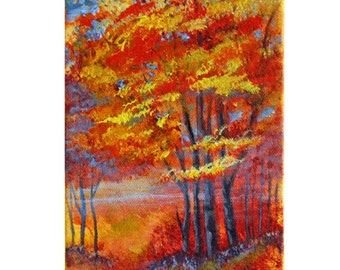 Trees - Original Acrylic Landscape Painting - Autumn, Fall, Red, Orange, Blue, Yellow 5x7,