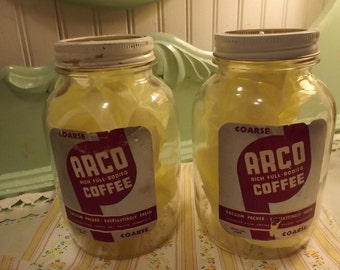 Pr Vintage Arco Coffee Jars one pound Jars Paper label