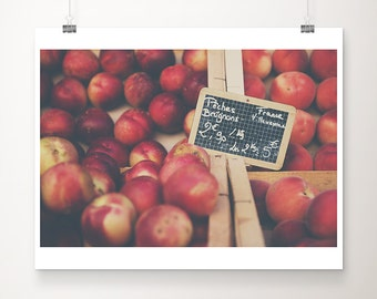 peach photograph peach print food photography fruit photograph fruit print food print french market photograph kitchen wall art