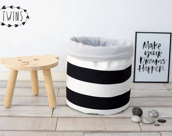 black white laundry hamper,Round Nursery Basket, laundry basket, toy storage, Toy basket, storage bin, laundry hamper, nursery storage
