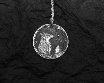 Fox Necklace - Star Necklace - Silver Necklace - Star Gazing Necklace - Starry Sky Necklace