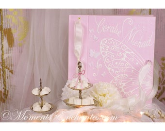 Album photo mariage  souvenirs pink  butterfly ornements wedding baby shower guestbook scrapbooking hand painting