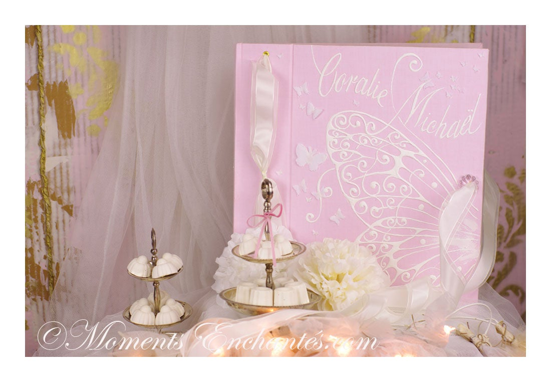 album photo mariage souvenirs pink butterfly ornements wedding baby shower guestbook. Black Bedroom Furniture Sets. Home Design Ideas