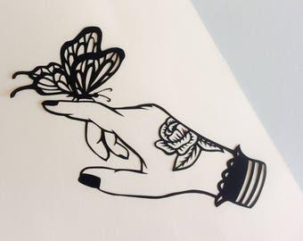 Butterfly Wall Art, Papercut art, Papercutting, Nature Illustration, Original artwork, American traditional tattoo
