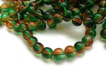 8mm Green Orange Glass Beads, Round Glass Beads, 50 Beads G 50 033