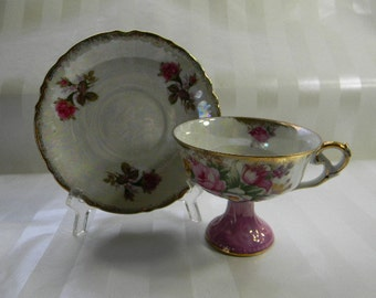 Vintage Japan, Lusterware, Pearlized, Footed, Pedestal Cup and Saucer