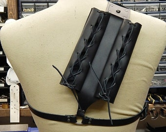 Leather double back scabbard designed for metal swords. Witcher style. LARP, cosplay.