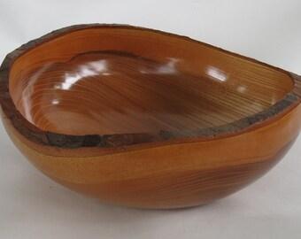 Chinese Elm, Natural Bark Edge Lathe Turned Bowl   #1056