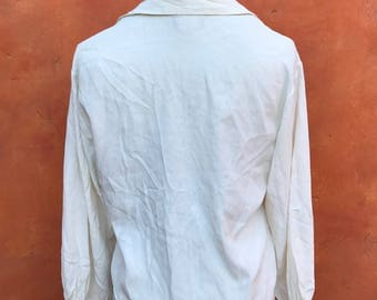 Vintage 1990s White Grunge Gypsy Boho Ruffle Shirt Blouse top. lagenlook dark mori steampunk gothic one size medium large  POET pirate