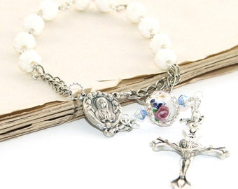 Pope Francis Pocket Rosary, White Shell Rose Beads, Mary & Angels Center