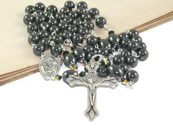Hematite Catholic Rosary, Saint Joseph Center - Traditional Rosary Prayer Beads