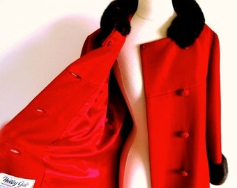 COAT SALE Vintage 60s Mink Collar Coat, Red Wool Coat, Mod Double Breasted Coat, Jackie O style