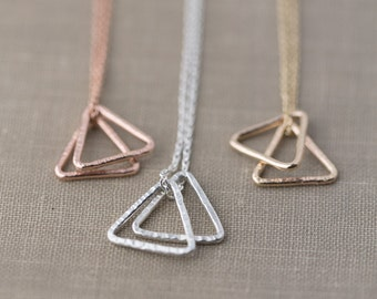 Minimalist Triangle Necklace | Choose Sterling Silver, Gold Filled, or Rose Gold Filled Dainty Necklace | Minimal Hammered Everyday Necklace