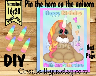 Pin the Horn on the Unicorn PRINTABLE party game Unicorn Birthday Party Game ideas Pin the Tail DIY 16x20 Printable game poster Download