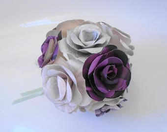 Rose Bouquet, 12 Flowers, Paper Flowers, Wedding Flowers, Home Decor, plum, lilac, silver, ready to ship