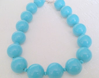 Super Chunky Turquoise Beaded Choker Length Necklace