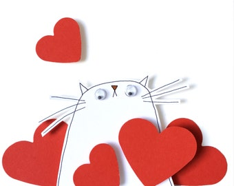 Mother's Day Card, Handmade Mother's Day Card - White Kitty with Red Love Hearts, Very Special I Love You Card for Mum, I Love Mew Card