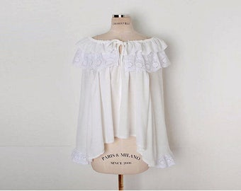 Vintage ruffled Lace Blouse, ruffled blouse, pirate blouse, Tie-Neck Tiered-Lace Blouse, off shoulder blouse, white blouse, lace blouse