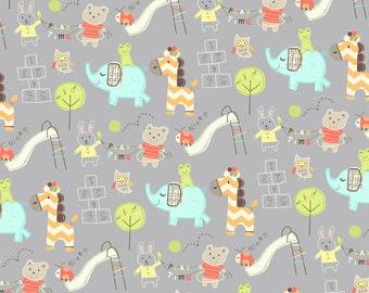 Baby Animal - Grey Fabric - Baby Fabric - Elephant Fabric - Giraffe Fabric - Bear Fabric - Flannel Fabric - Cotton - Nursery Fabric - Yard