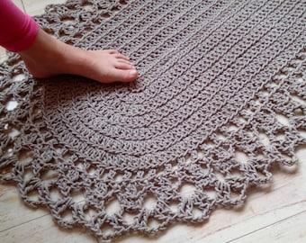 "Crochet Rope Oval Rug 100% Linen 23"" x 38"""
