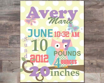 Owl and Butterflies Birth Information, Typography, Baby Shower, Wall Art, Keepsake, Personalized