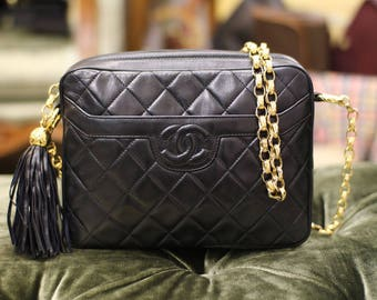 Vintage Chanel Black Quilted Leather Fringe Shoulder Camera Bag