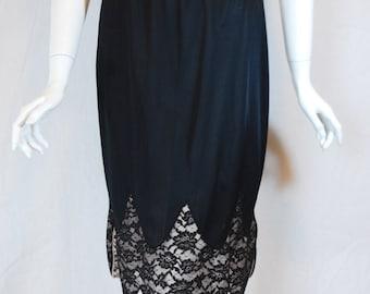 1950s Vanity Fair Black with Lace Half Slip, small , medium