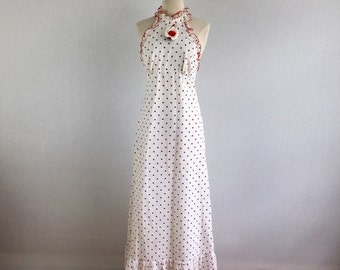 Vintage 60s red and white polka dot halter maxi dress - 1960s summer long dress with matching jacket - small