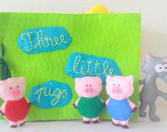 Quiet Book Three Little Pigs, Handmade Toys, Montessori Toys, Felt Story Board, Quiet Book Toddler, Educational Toys, Waldorf Toys, Gift