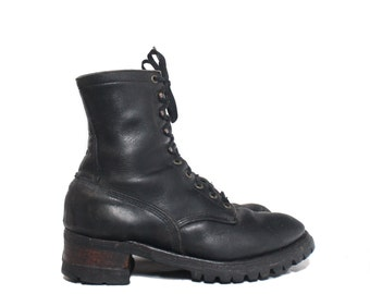 9 D | Men's Logger Boots Black Leather Lace Up Boot Stacked Heel