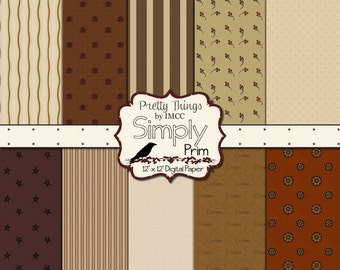 Primitive Prim Digital Download Paper Pack Rustic Vintage 12x12 Backgrounds Stars Stripes Brown Scrapbooking Clipart Small Business Use